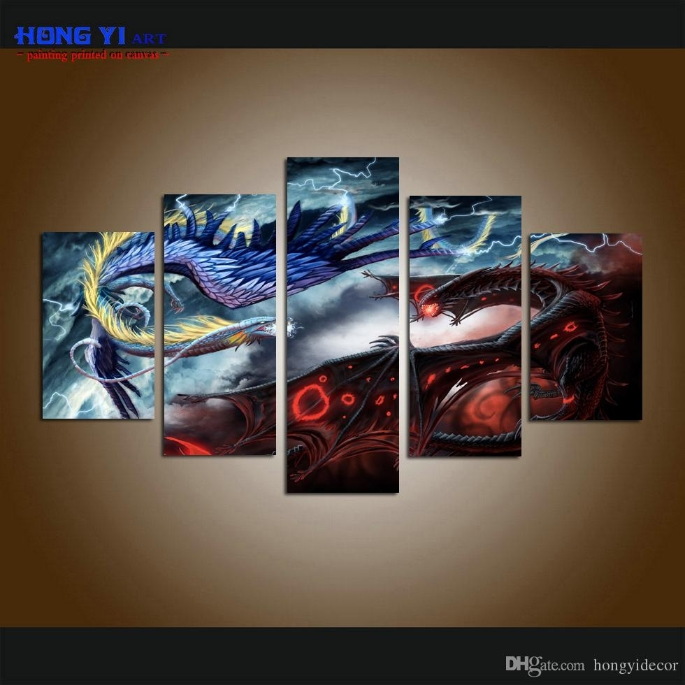 2018 Large Home Decor Canvas Print Art Painting Wall Art Cartoon Intended For Best And Newest Five Piece Canvas Wall Art (View 2 of 20)