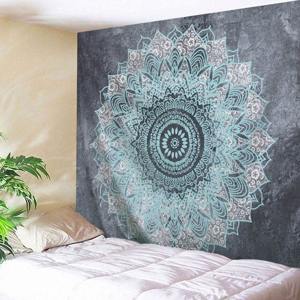 2018 Mandala Wall Art Hanging Beach Throw Tapestry Gray W Inch L Throughout Latest Mandala Wall Art (View 7 of 20)