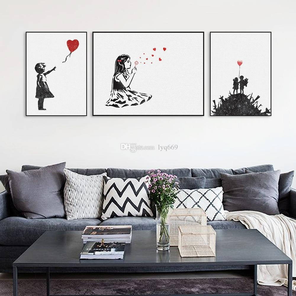 2018 Modern Black White Banksy Poster Print A4 Urban Graffiti Wall Intended For 2018 Black Wall Art (View 3 of 20)