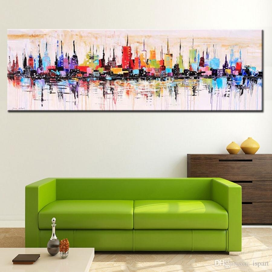 2018 Modern Living Room Decorative Oil Painting Hand Painted Large Inside Current Long Canvas Wall Art (View 13 of 20)