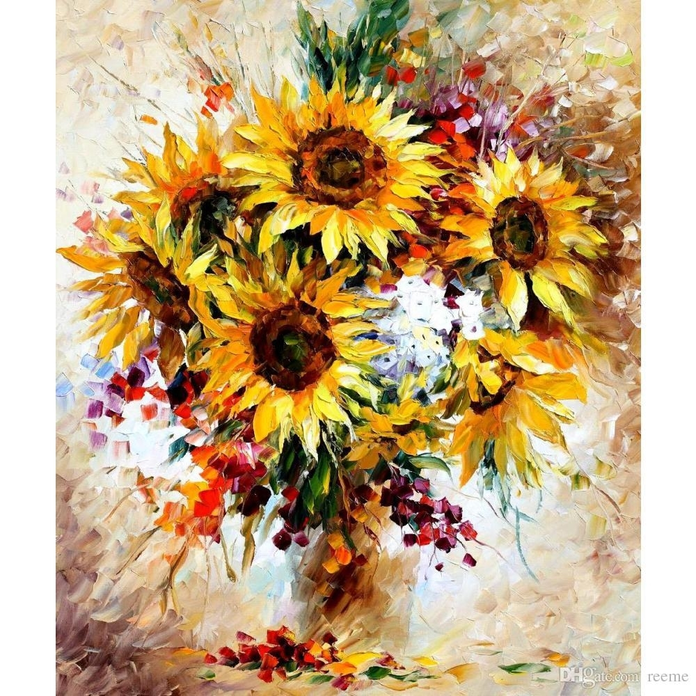 2018 Modern Wall Art Sunflowers Ii Leonid Afremov Landscapes Oil With Regard To 2018 Sunflower Wall Art (View 2 of 20)