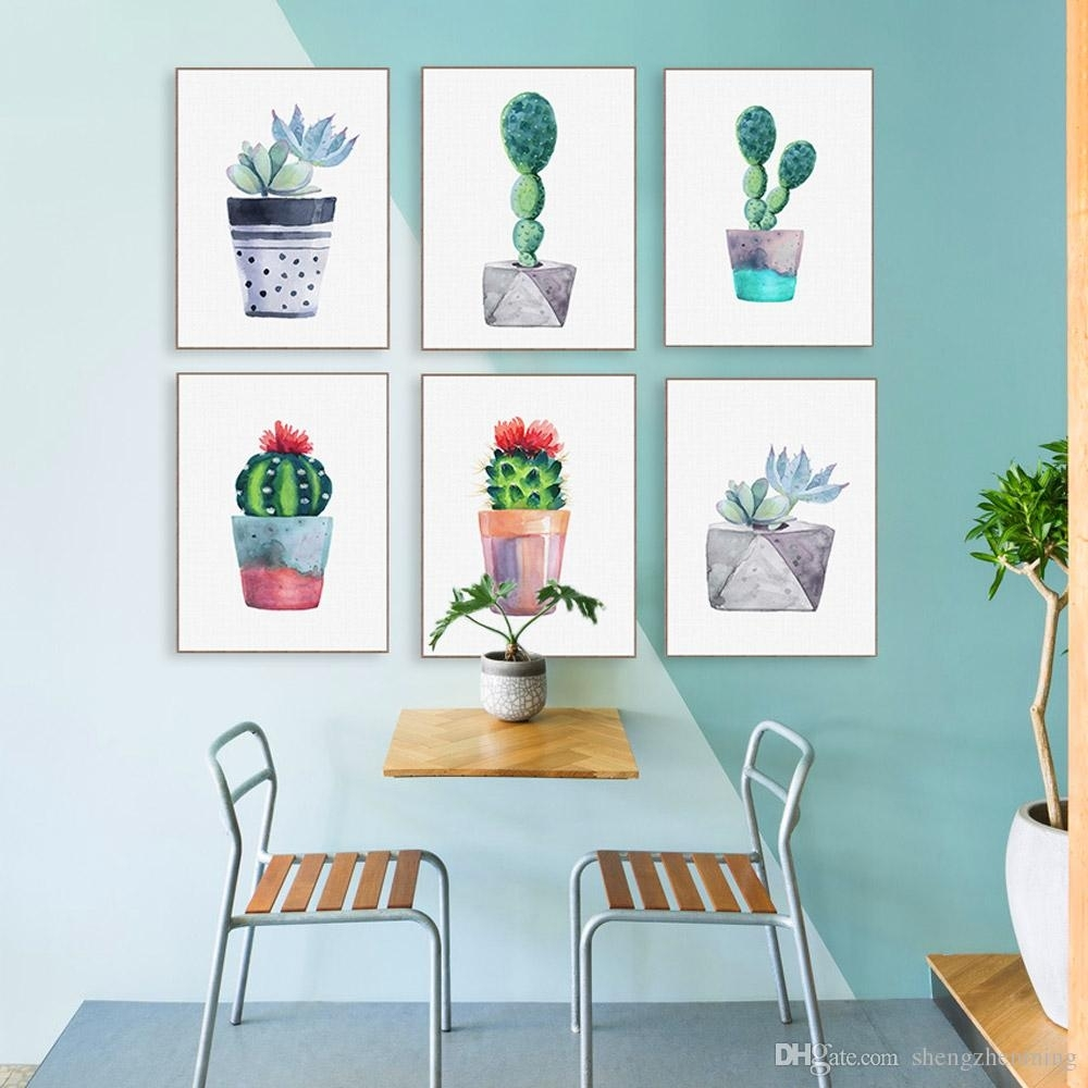 2018 Modern Watercolor Green Succulent Plant Cactus Poster Nordic Regarding 2018 Cactus Wall Art (Gallery 3 of 20)