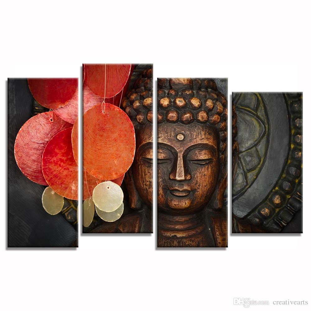 2018 Multi Pieces Buddha Canvas Wall Art For Living Room Decoration With Regard To Recent Multi Piece Wall Art (View 1 of 20)