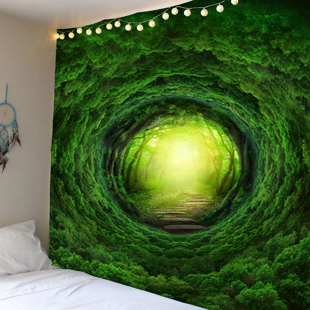 2018 Nature Tree Hole Wall Art Tapestry Green W Inch L Inch In Wall For Most Up To Date Nature Wall Art (Gallery 5 of 20)