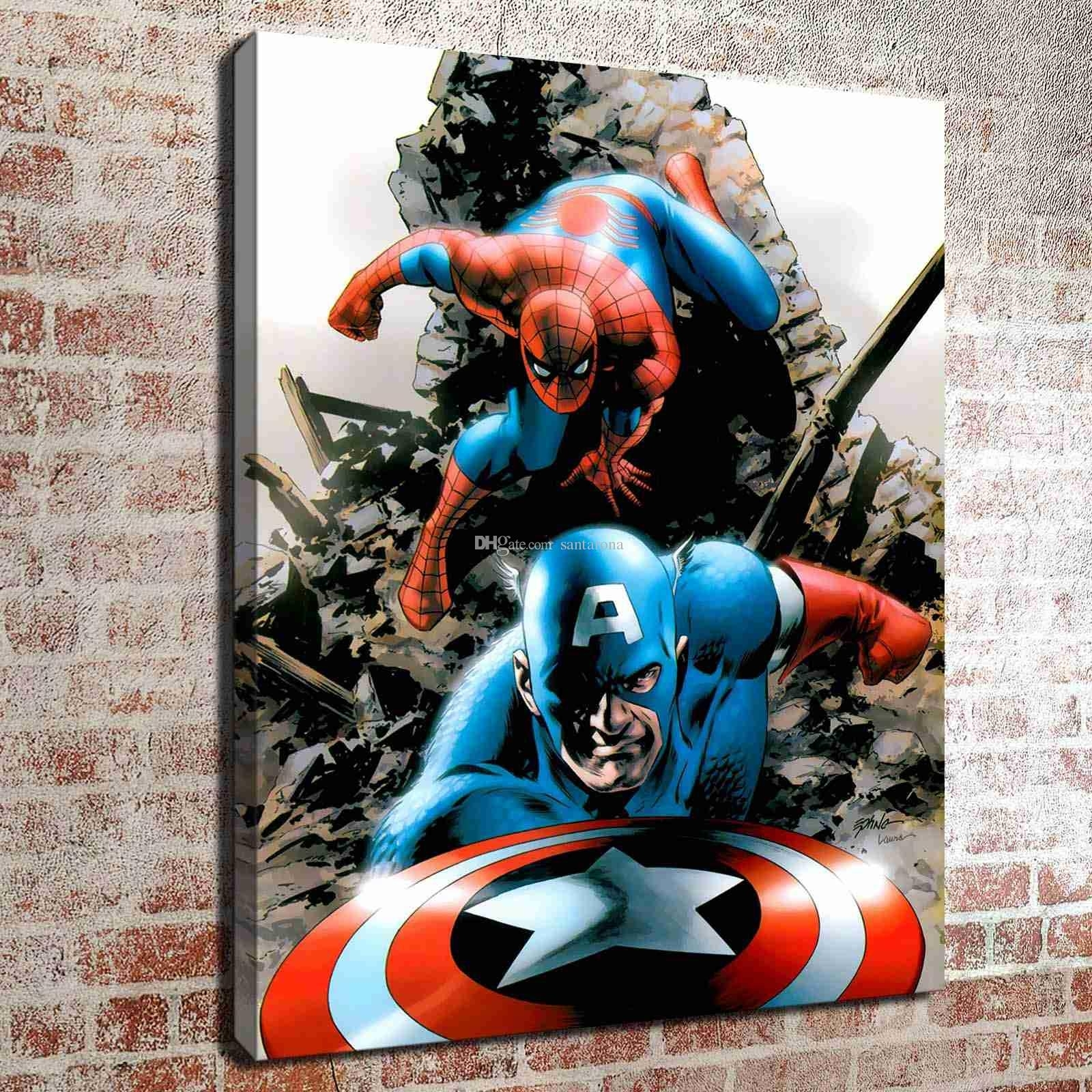 2018 No Frame Spiderman And Captain America Hd Canvas Print Wall Art Within Recent Captain America Wall Art (View 2 of 15)