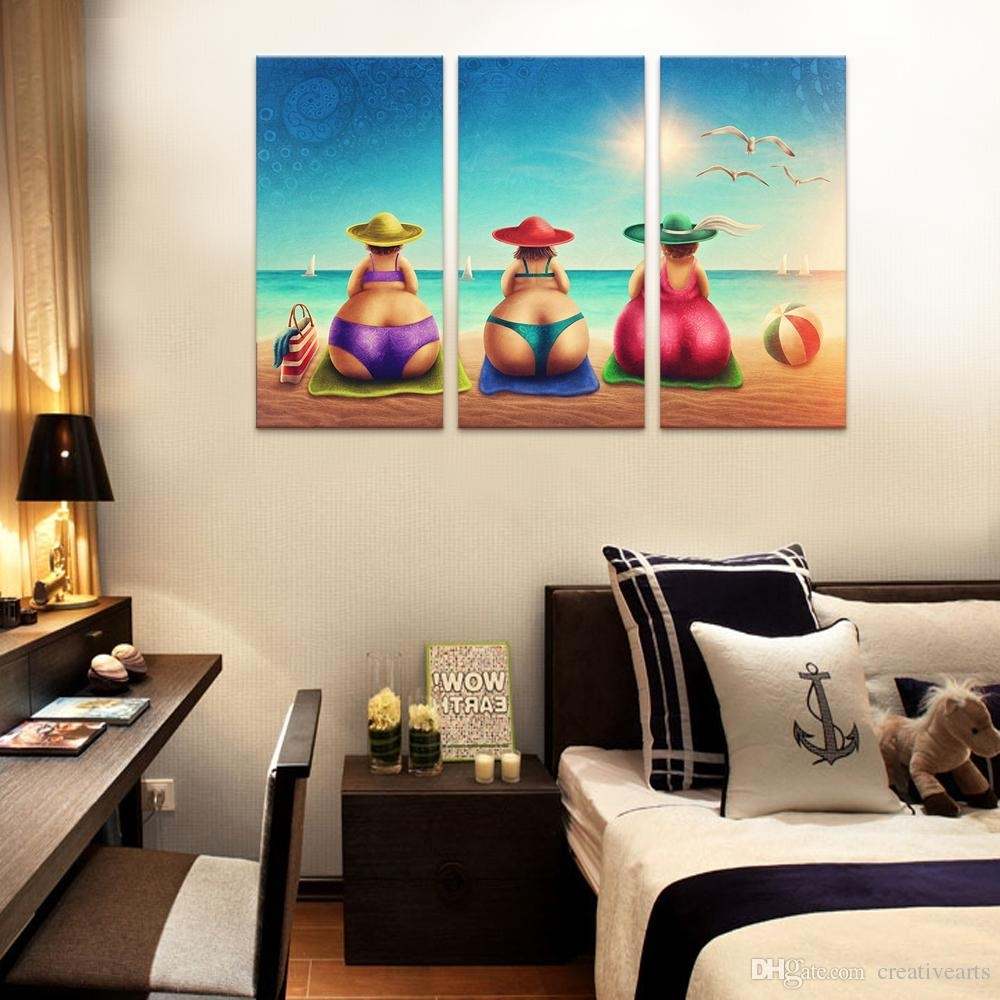 2018 No Framed Wall Art Fat Lady On Beach Canvas Art Painting Bikini Throughout Most Recently Released Framed Wall Art (View 9 of 15)