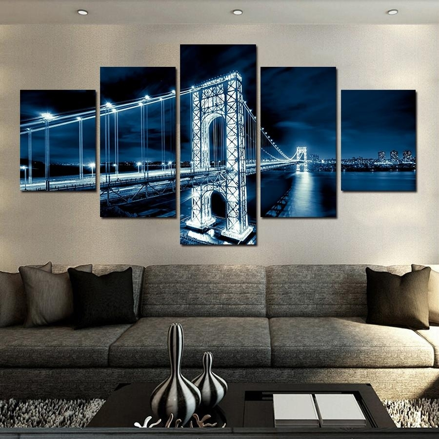 2018 No Frames Large Hd Coastal Bridge Canvas Print Painting For For Most Popular Large Coastal Wall Art (View 2 of 20)