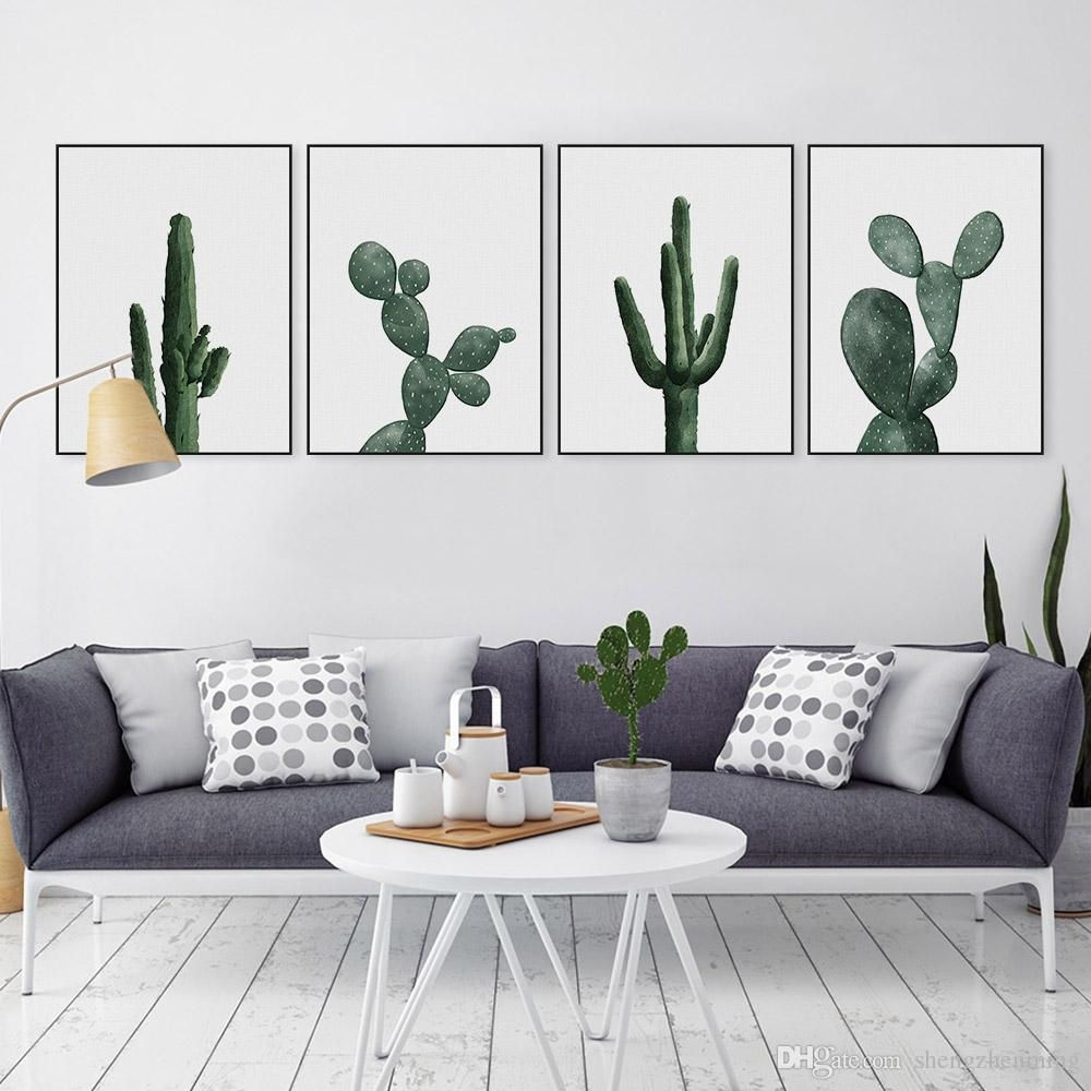 2018 Nordic Modern Floral Watercolor Green Cactus Canvas Big A4 Art Inside Newest Cactus Wall Art (View 3 of 20)