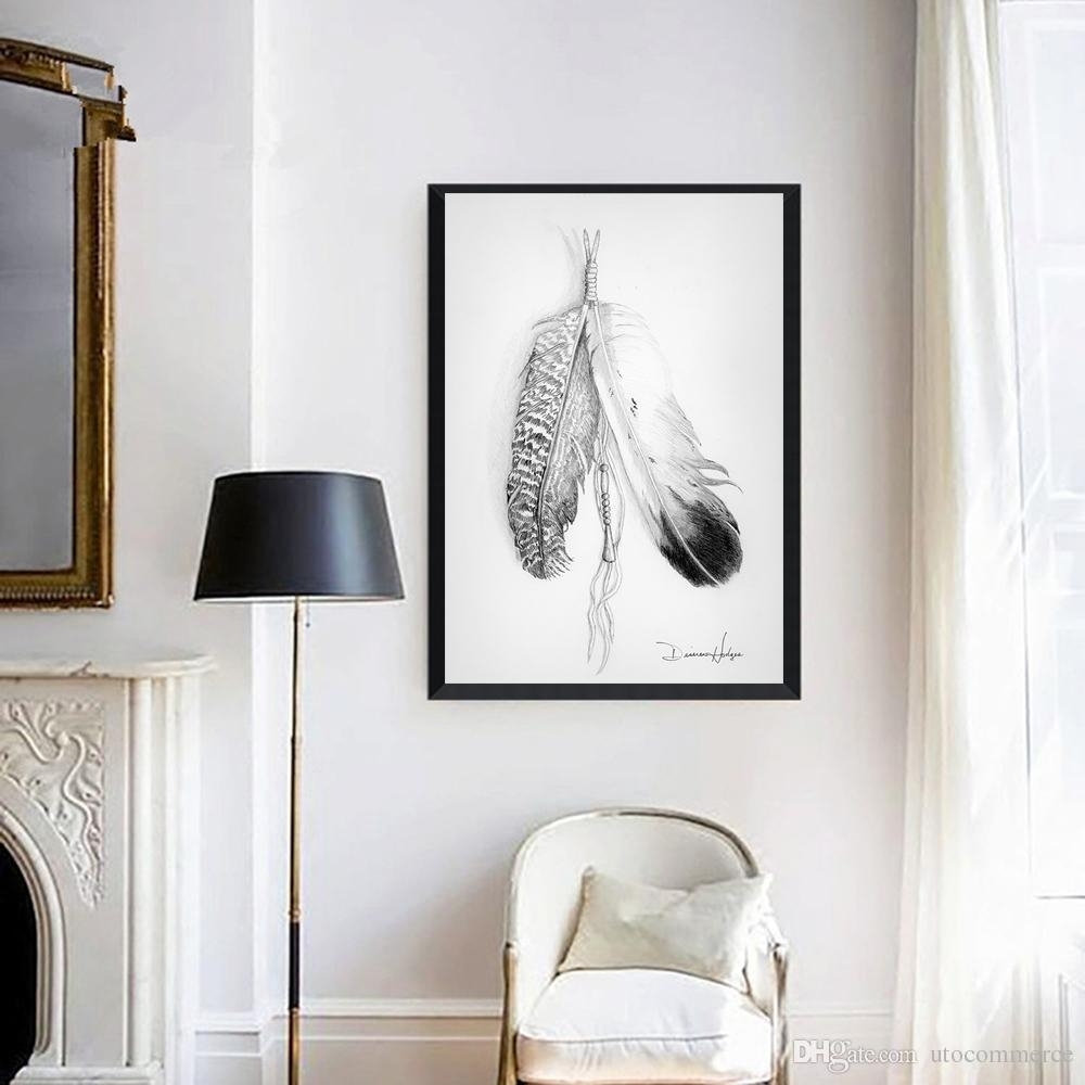 2018 Nordic Painting Grey Feathers Picture Canvas Painting Home Wall Inside Newest Grey And White Wall Art (Gallery 4 of 20)
