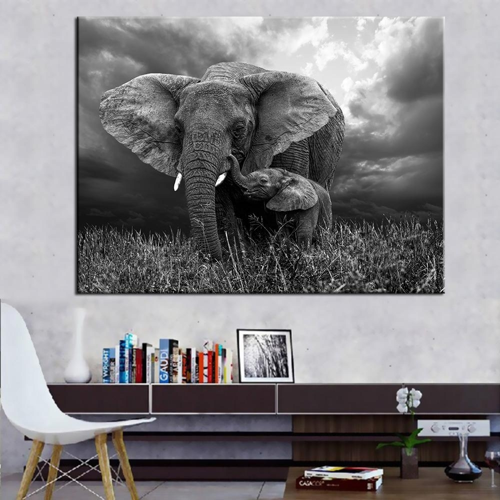 2018 Oil Painting Prints Wall Pictures For Living Room Home Decor In 2018 Elephant Canvas Wall Art (View 2 of 20)