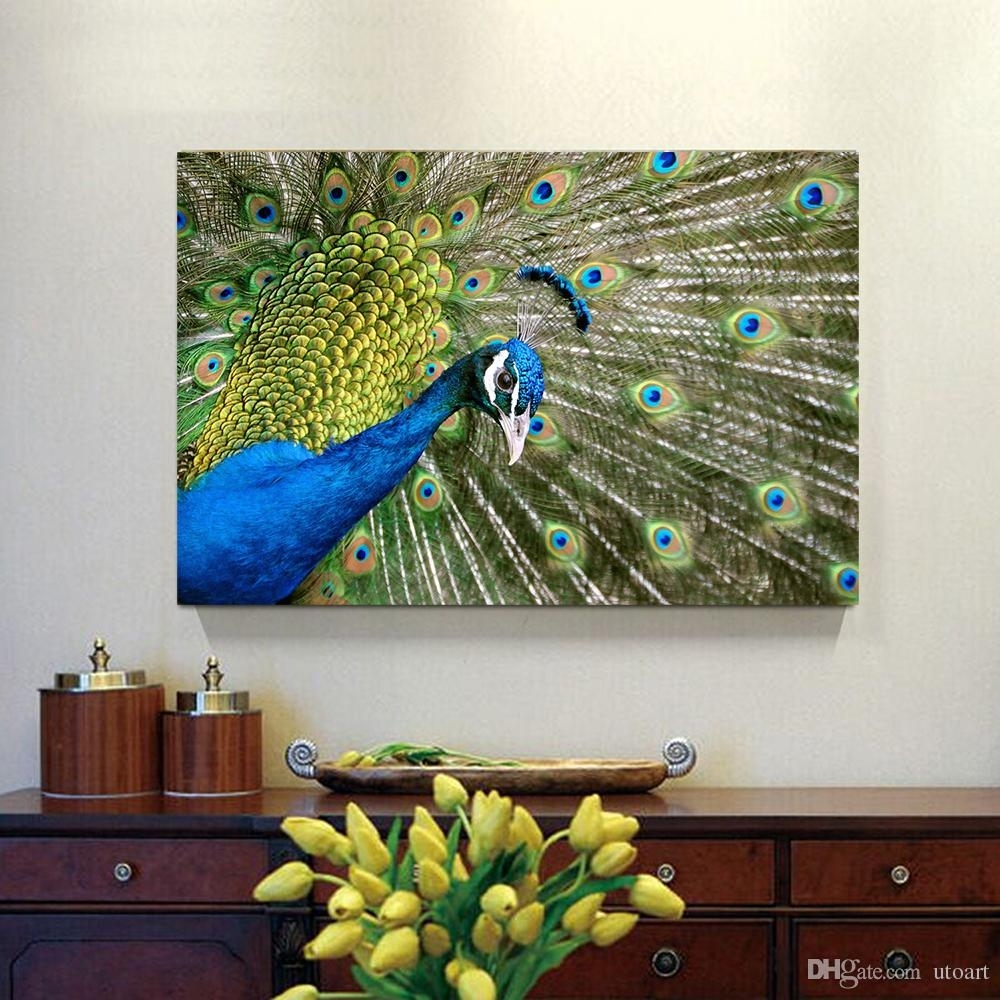 2018 Peacock Canvas Painting Home Decor Canvas Wall Art Picture In Most Current Peacock Wall Art (View 2 of 15)