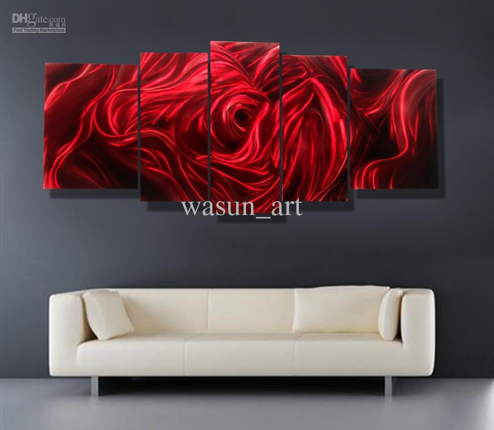 2018 Red Rose Modern Contemporary Abstract Painting,metal Wall Art Intended For 2018 Red Wall Art (View 9 of 15)