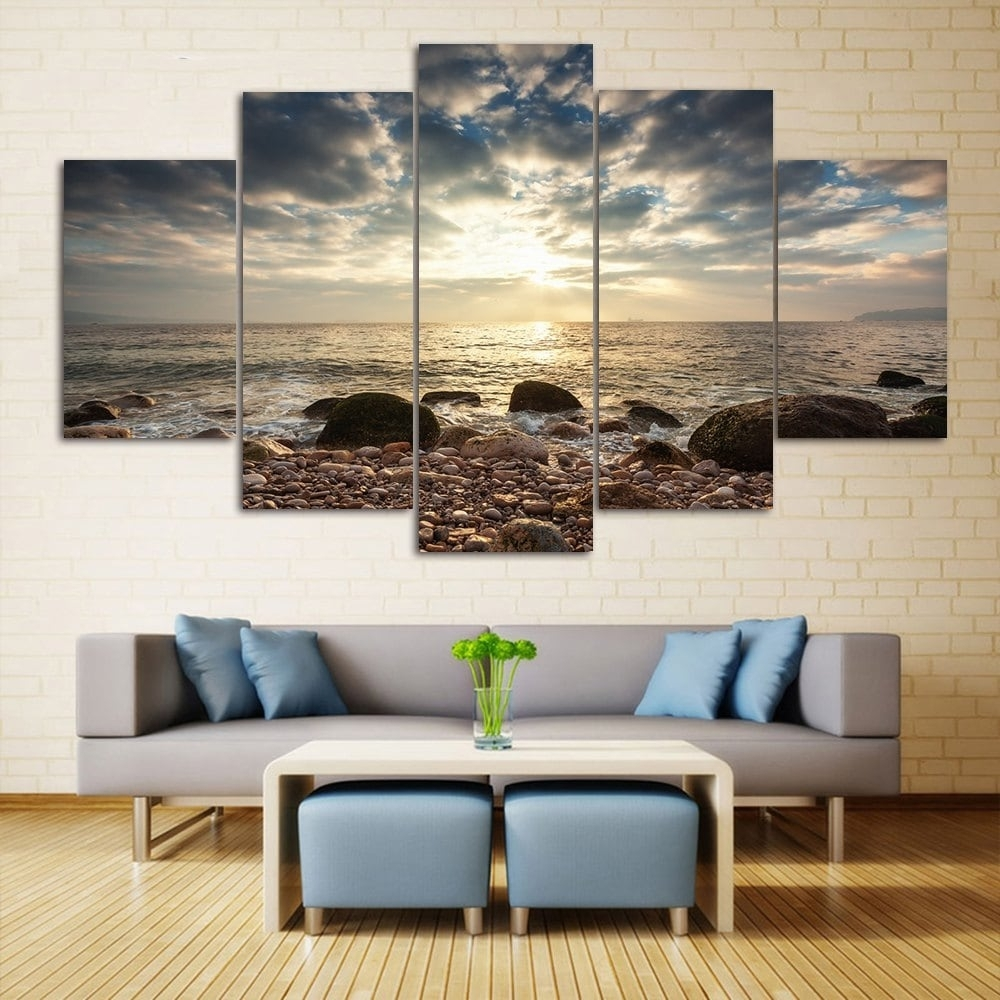 2018 Sea Stone Beach Split Canvas Prints Wall Art Paintings Colormix Inside Most Recently Released Living Room Painting Wall Art (Gallery 2 of 20)