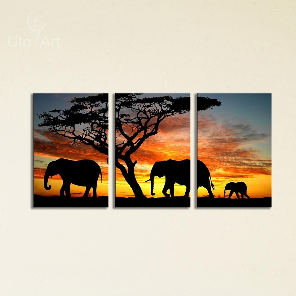 2018 Sunset Elephant Painting Canvas Wall Art Picture Home With Regard To Most Up To Date Elephant Canvas Wall Art (View 11 of 20)