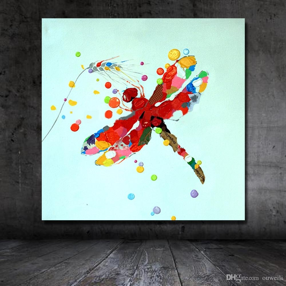 2018 Traditional Designs Of Fabric Painting Cartoon Animal Dragonfly Inside Current Dragonfly Painting Wall Art (View 7 of 20)