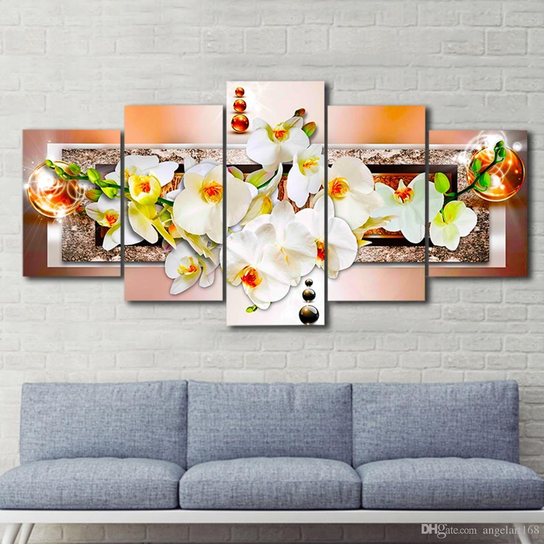 2018 Unframed Brown Pearl Orchid Flower Wall Art Oil Painting On Inside Most Recently Released Flower Wall Art (Gallery 20 of 20)