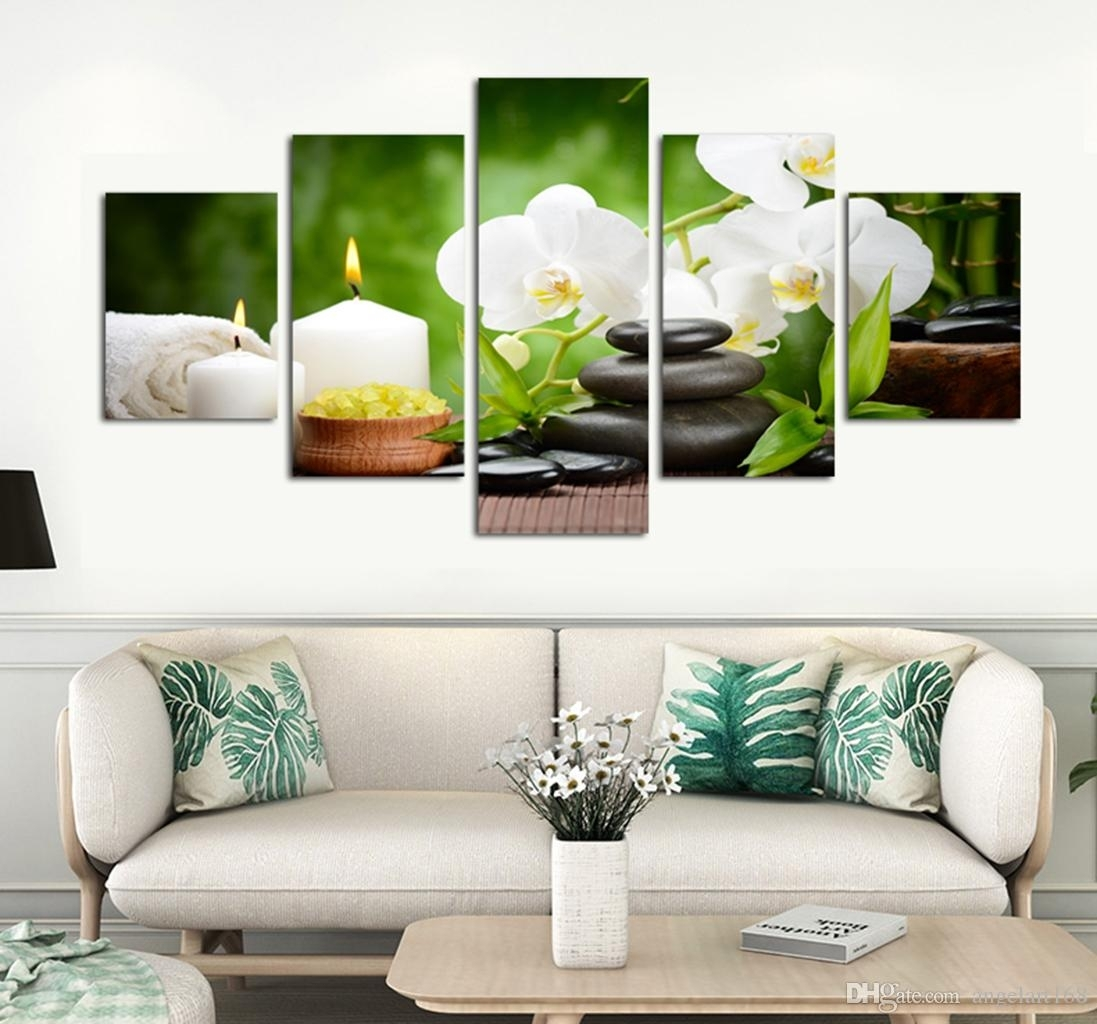 2018 Unframed Stone Bamboo Spa Wall Art Oil Painting On Canvas Inside Newest Bamboo Wall Art (View 11 of 20)