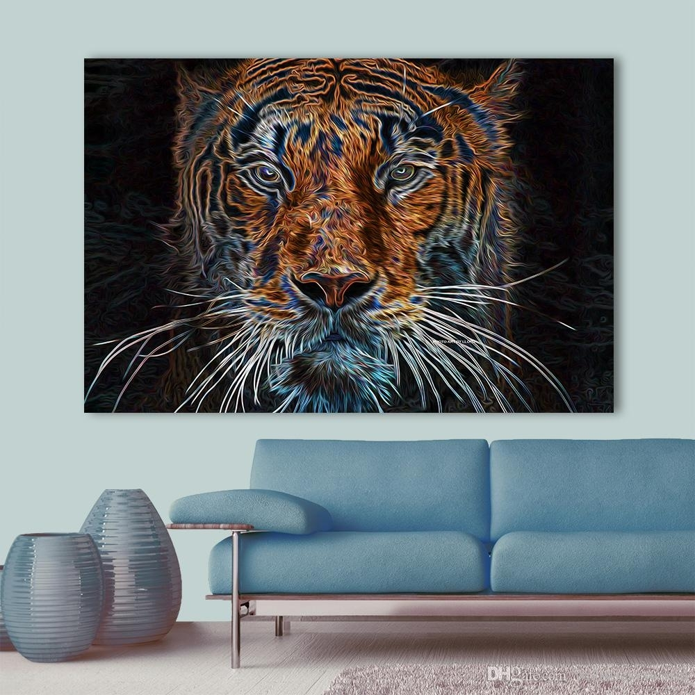 2018 Wall Art Abstract Canvas Painting Colorful Tiger Wall Pictures Inside Most Current Colorful Wall Art (View 8 of 20)