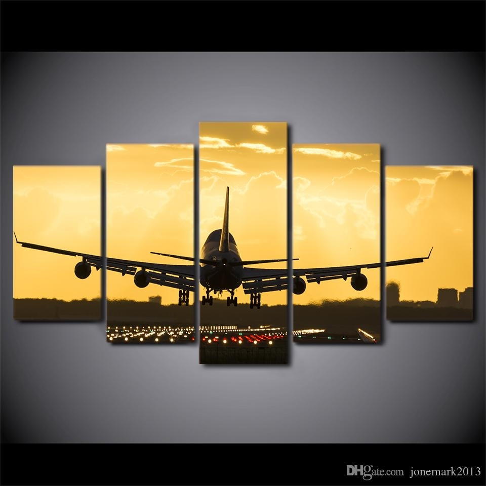 2018 Wall Art Canvas Painting Golden Sunset Hd Print Wall Canvas Art Inside 2018 Aviation Wall Art (Gallery 15 of 20)