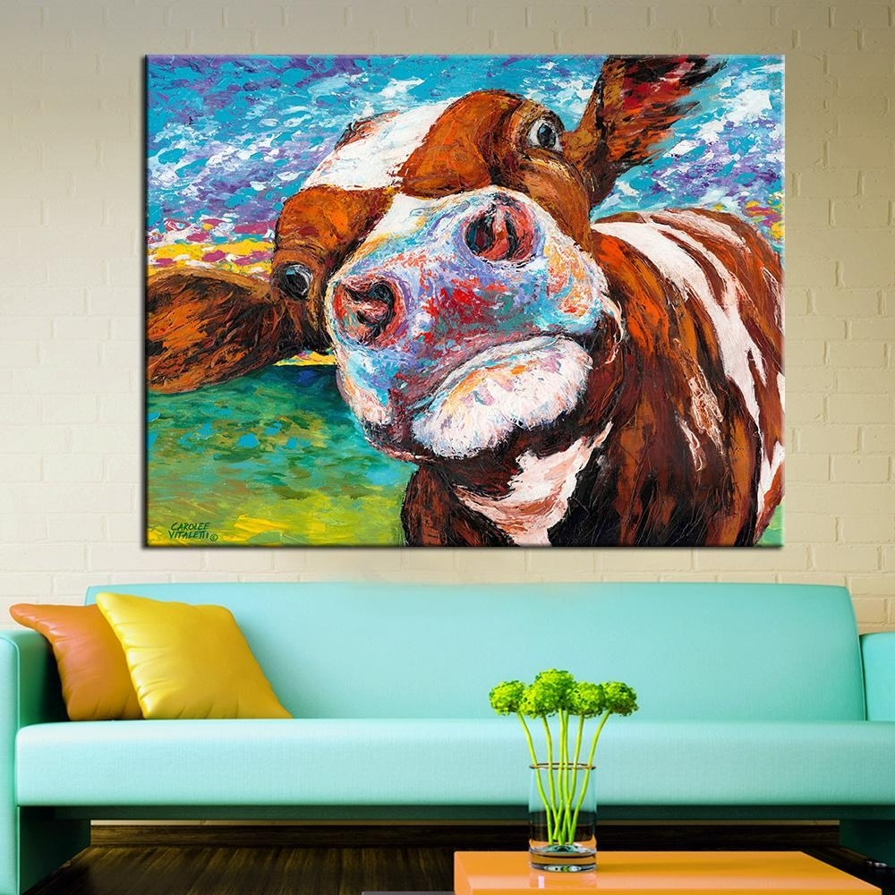 2018 Wall Art Oil Painting Butiful Cow Posters And Prints Wall In Best And Newest Cow Canvas Wall Art (View 3 of 20)