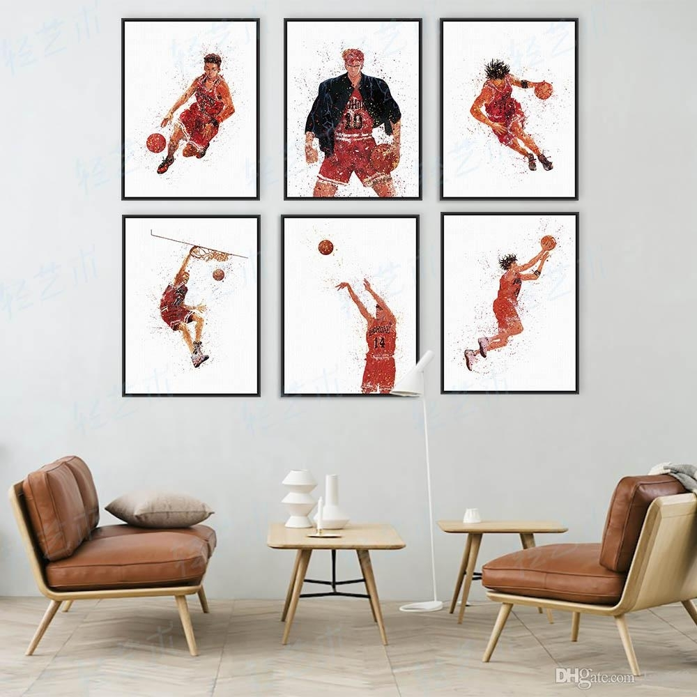 2018 Watercolor Slam Dunk Japanese Animation Basketball Poster Boy For Latest Basketball Wall Art (Gallery 1 of 15)