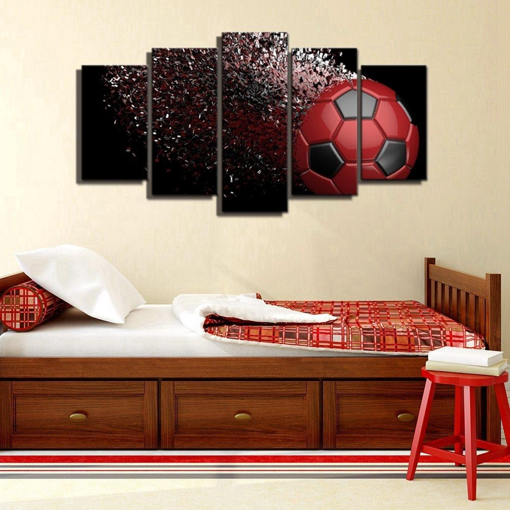2018 Waterproof Blue And Red Black Soccer Football Sport Canvas Wall With Regard To Recent Red And Black Canvas Wall Art (View 2 of 20)