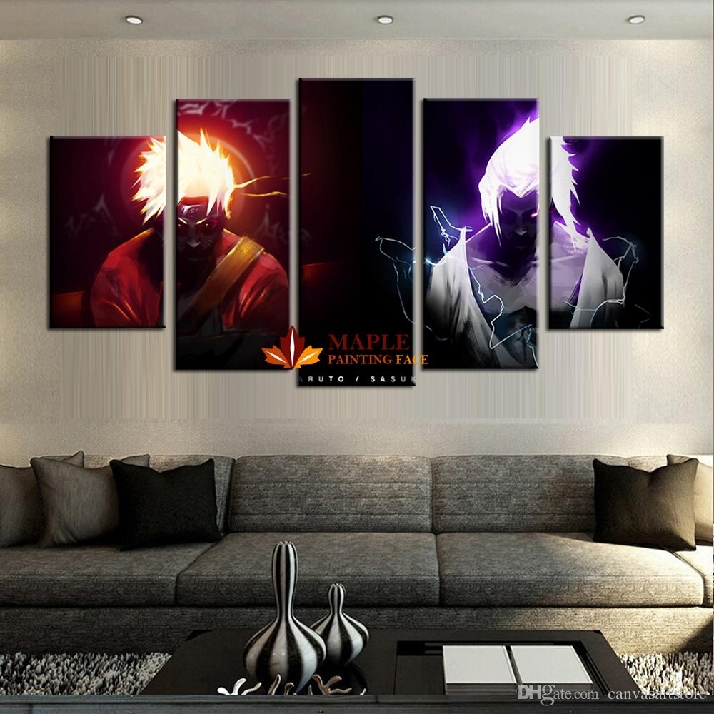 2018 Wholesale 5 Panels Canvas Printings Naruto Vs Sasuke Home Decor In Latest Wall Art Cheap (View 2 of 20)