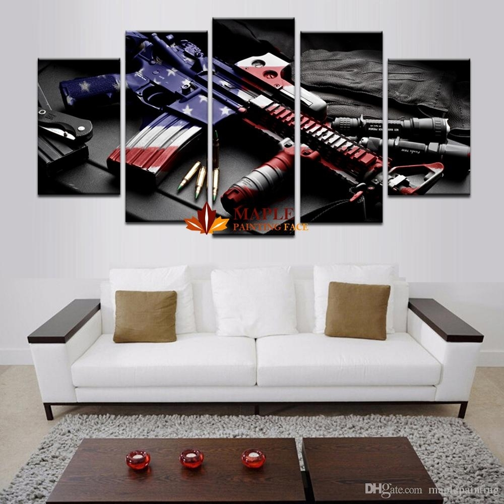 2018 Wholesale Large Wall Art Hd Printed Gun Home Decorative With Recent Cheap Large Wall Art (View 9 of 20)
