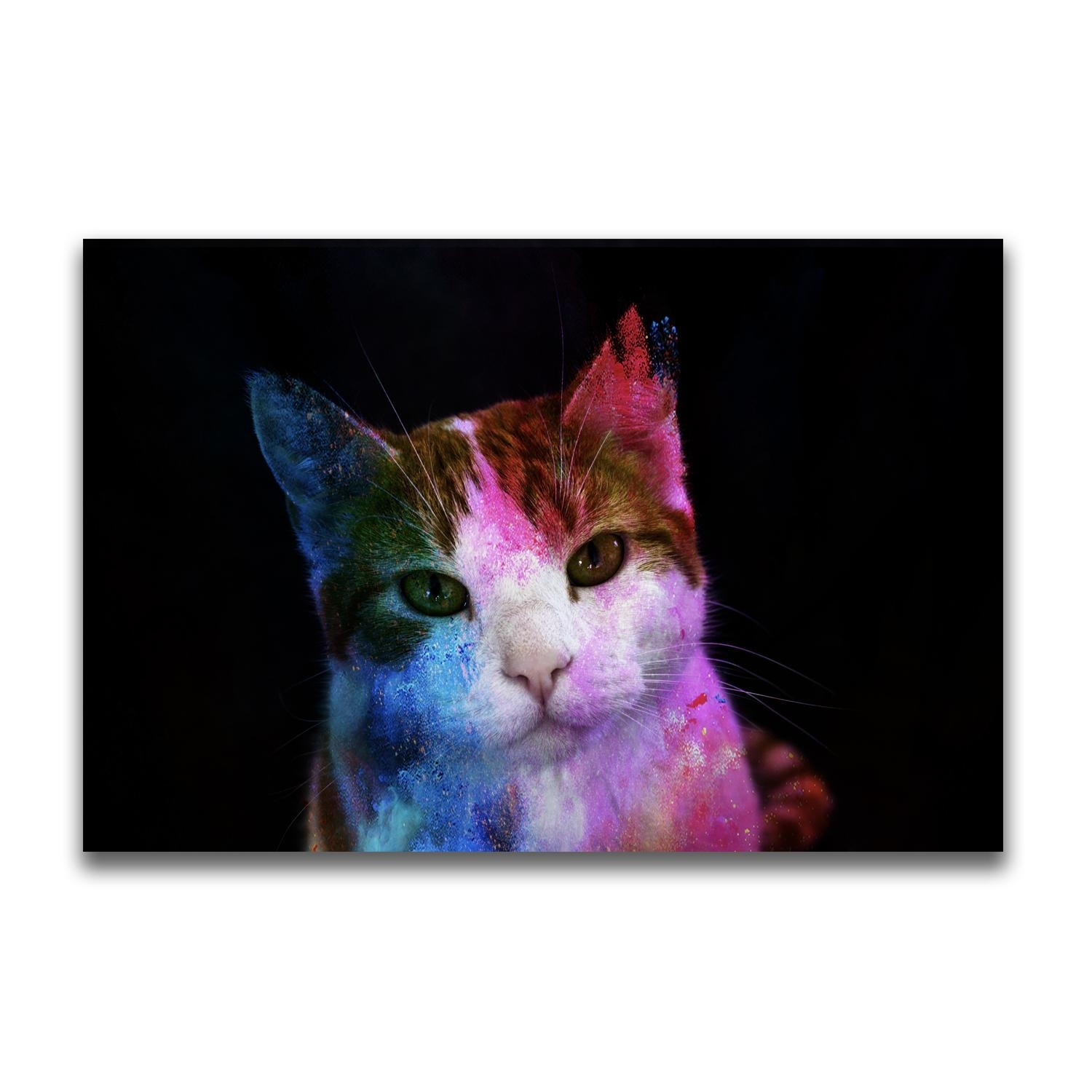 2018 Yj Art A Colorful Cat Unframed Modern Canvas Wall Art For Home In Newest Cat Canvas Wall Art (View 2 of 20)