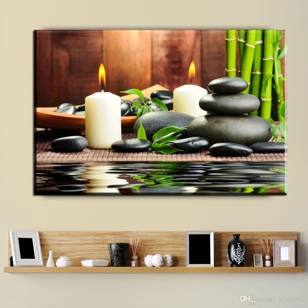 2018 Zz1923 New Bamboo Black Spa Zen Stone Pictures Prints On Canvas With Regard To Most Current Modern Wall Art (View 3 of 15)