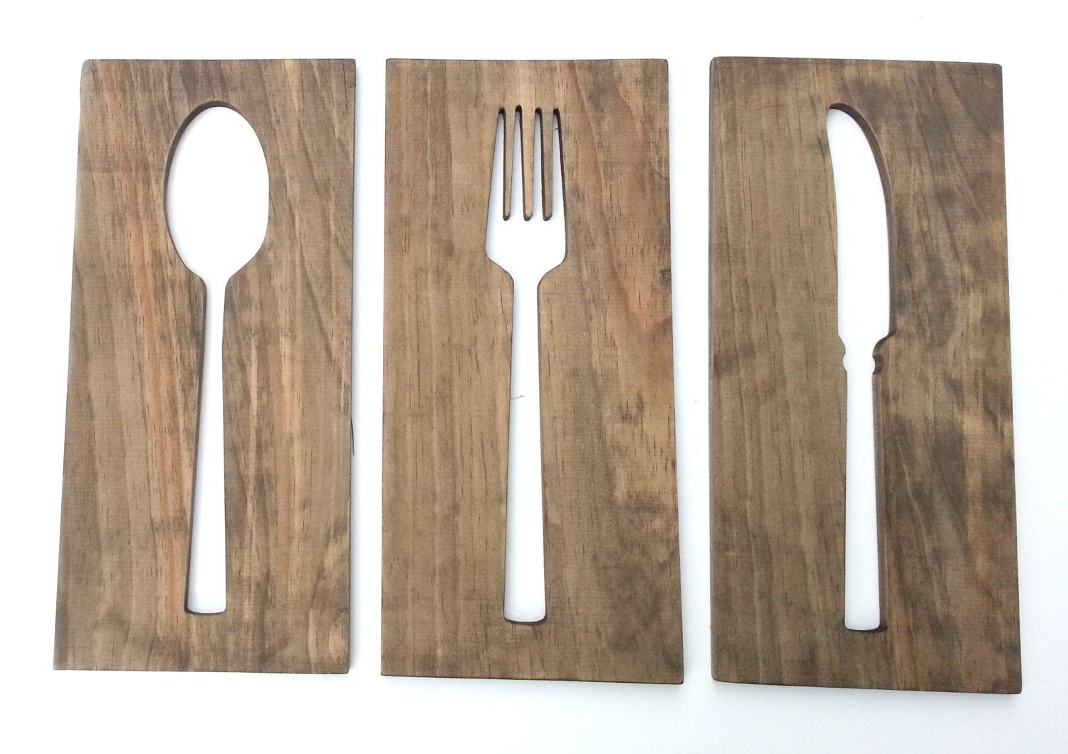 24'' Kitchen Art Fork Spoon Knife Wall Decor Modern Wood Decoration With Regard To Best And Newest Fork And Spoon Wall Art (View 1 of 20)
