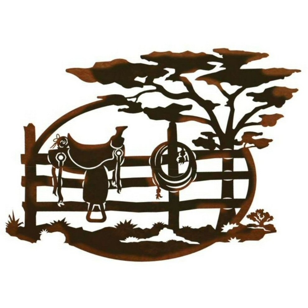 "26"" Saddle Sitting On A Fence Scenic Metal Wall Art – Western Wall Decor With Regard To Most Recently Released Western Wall Art (View 17 of 20)"