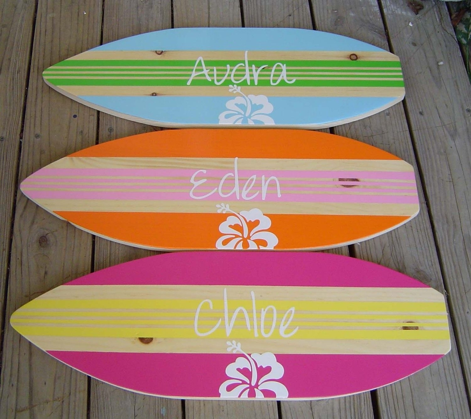 27 Inch Personalized Hibiscus Surfboard Wall Art Beach Sign / Kids Throughout Most Current Surfboard Wall Art (View 1 of 20)