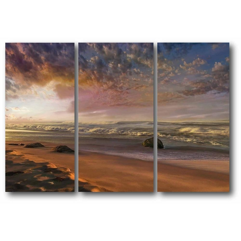 """3-24 In. X 36 In. Panels """"coastal Sunrise"""" 3 Multi-Panel Gallery intended for Most Recently Released Multi Panel Wall Art"""