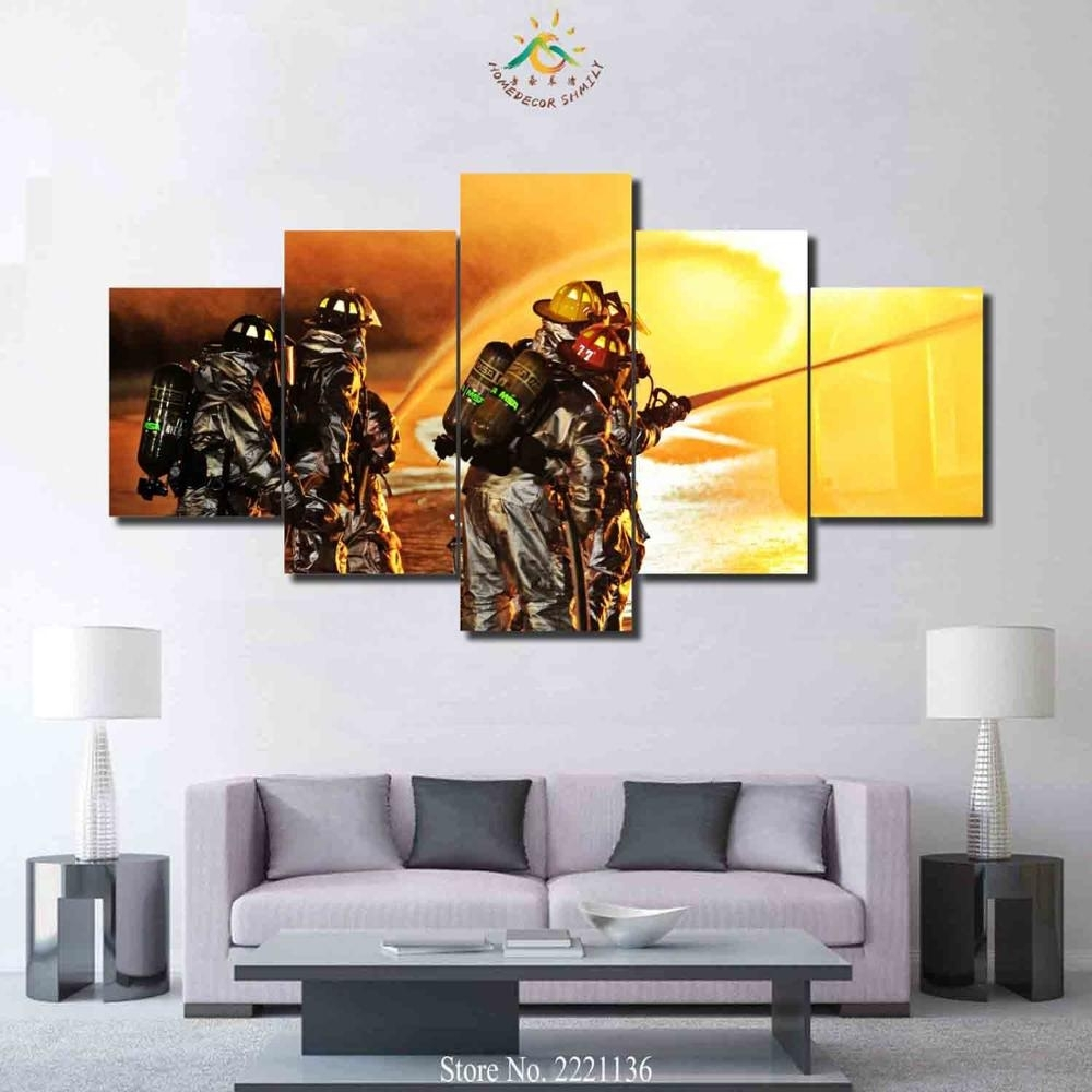3 4 5 Pieces Firefighter Art Set Poster Home Goods Wall Art Canvas Intended For Best And Newest Firefighter Wall Art (Gallery 4 of 15)