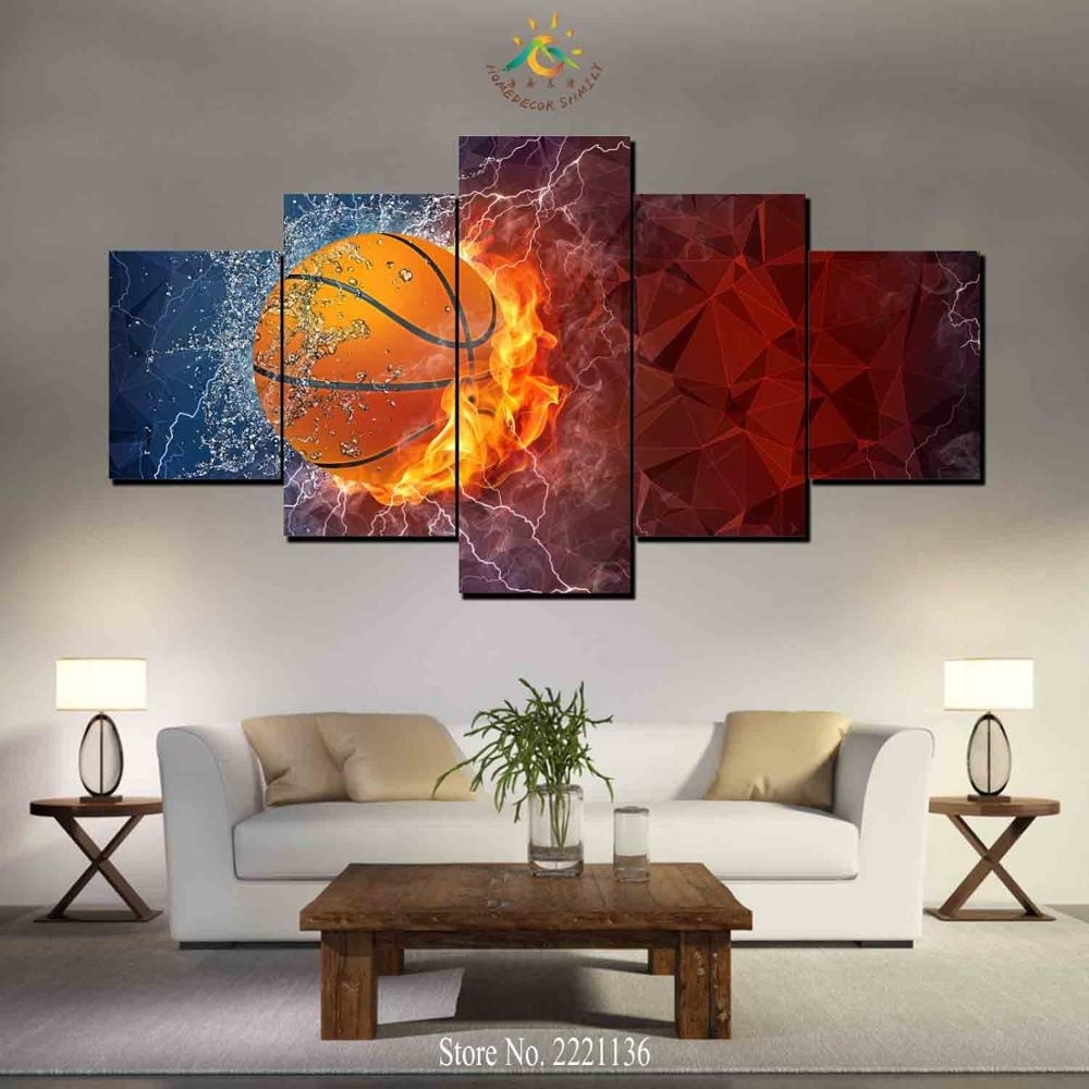 3 4 5 Pieces Water And Fire Basketball Modern Wall Art Canvas Throughout Best And Newest Basketball Wall Art (View 13 of 15)