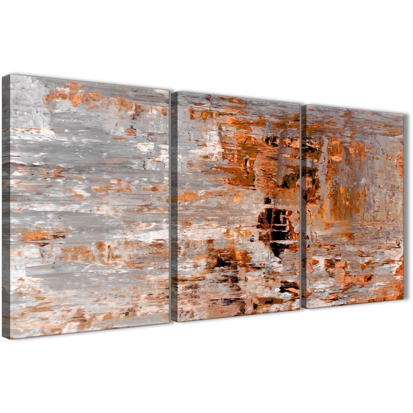 3 Panel Burnt Orange Grey Painting Dining Room Canvas Wall Art Decor Intended For Recent Orange Wall Art (View 2 of 20)