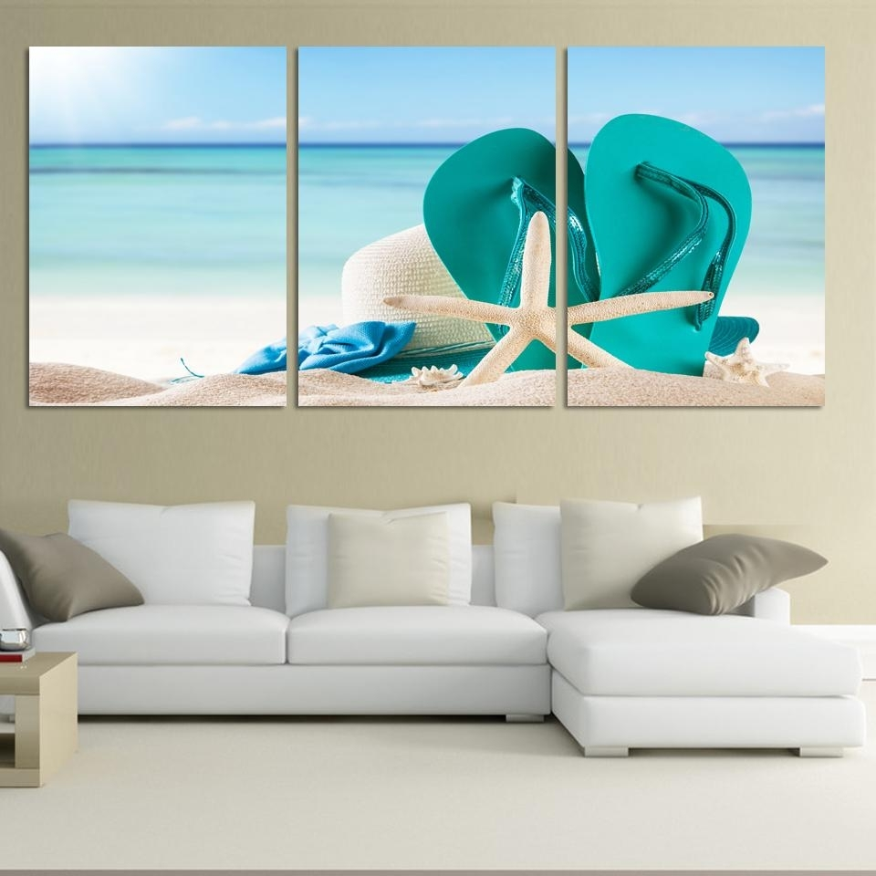 3 Panel Large Beach Canvas Seascapes Shoses And Star Paintings Wall regarding Most Up-to-Date Large Coastal Wall Art