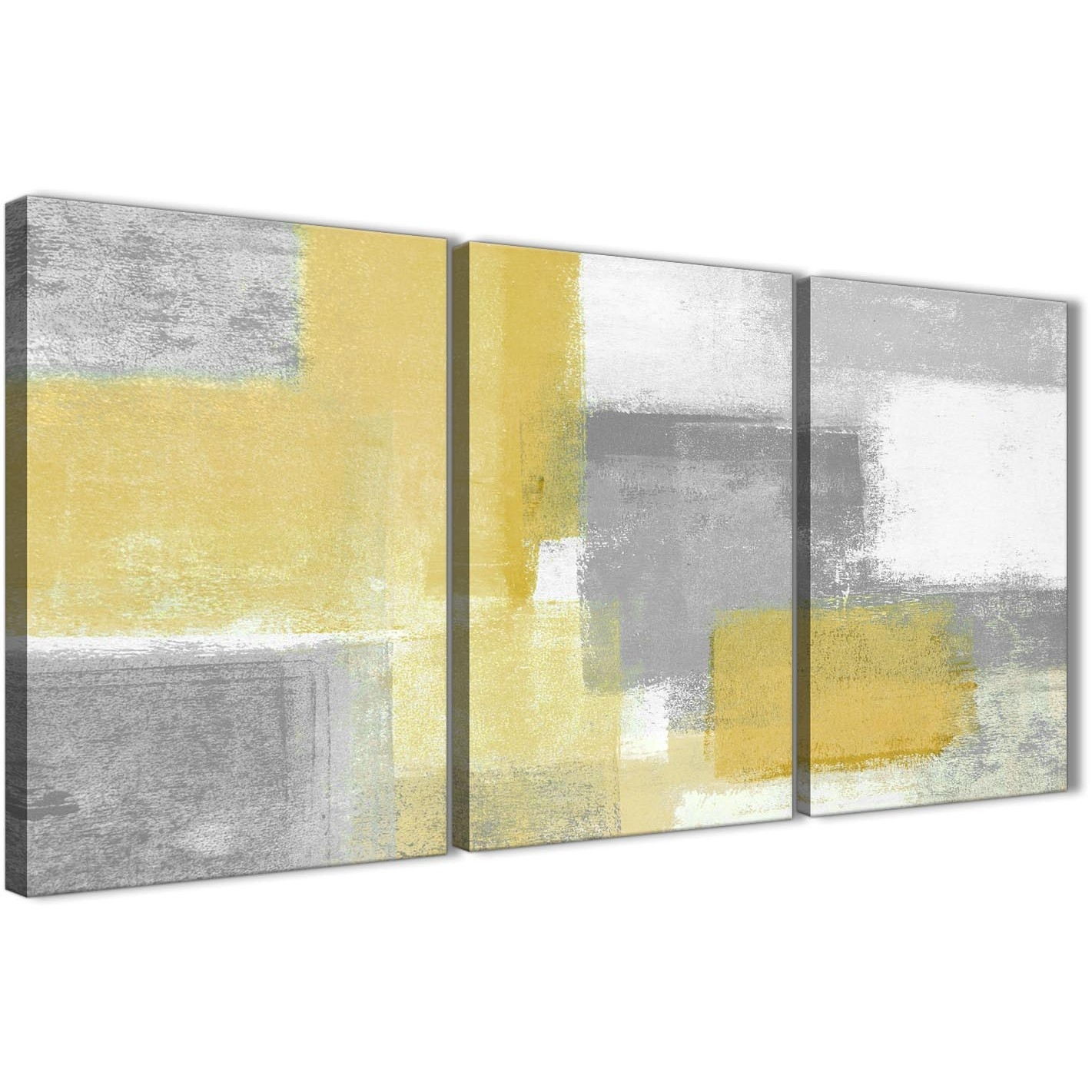 3 Panel Mustard Yellow Grey Kitchen Canvas Wall Art Decor - Abstract with Most Recent Wall Canvas Art