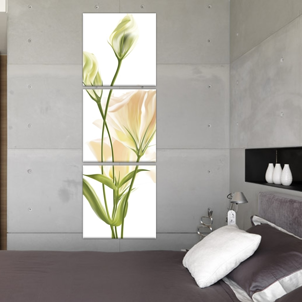 3 Panel Wall Art Abstract Modern Bedroom Beautiful Vertical Flower With Regard To Best And Newest Vertical Wall Art (View 1 of 20)