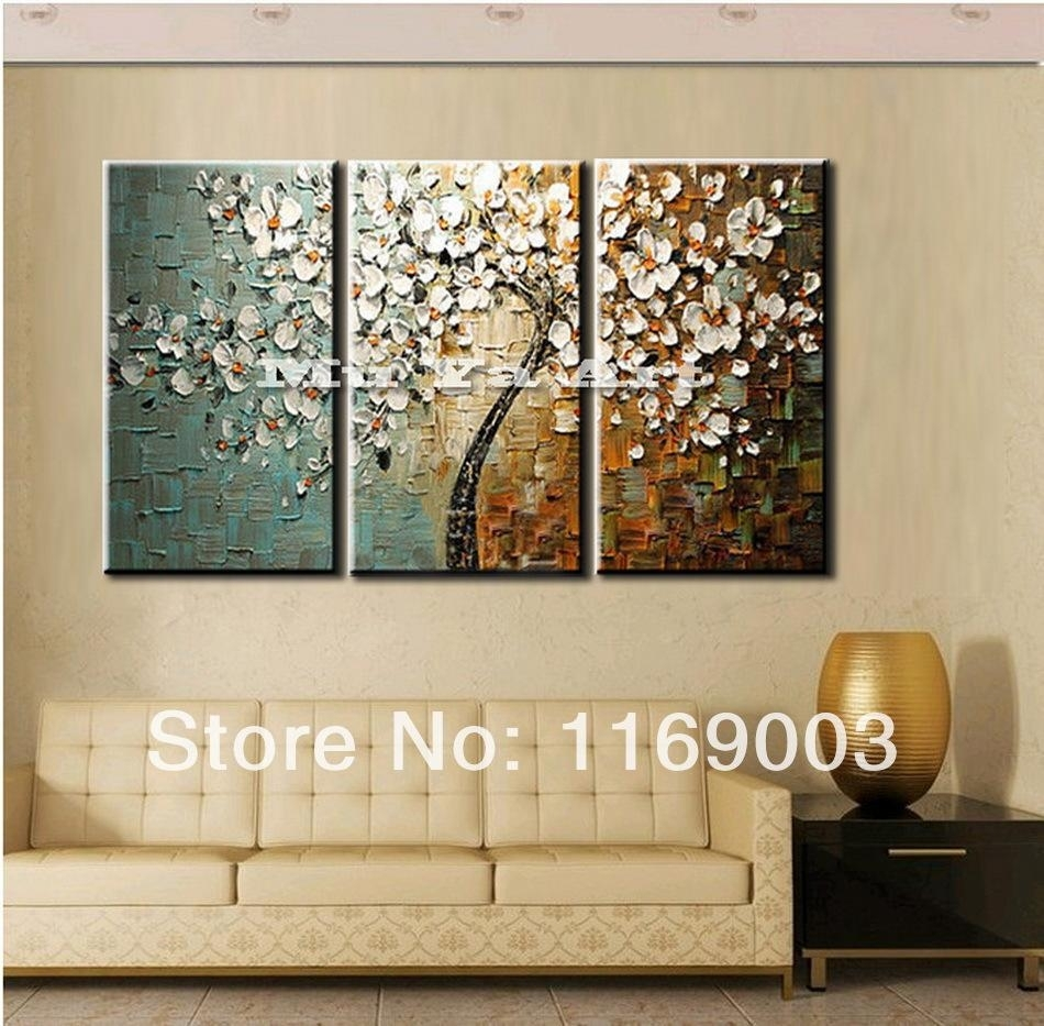 3 Panel Wall Art Canvas Tree Acrylic Decorative Pictures Hand Intended For Recent Panel Wall Art (View 8 of 20)