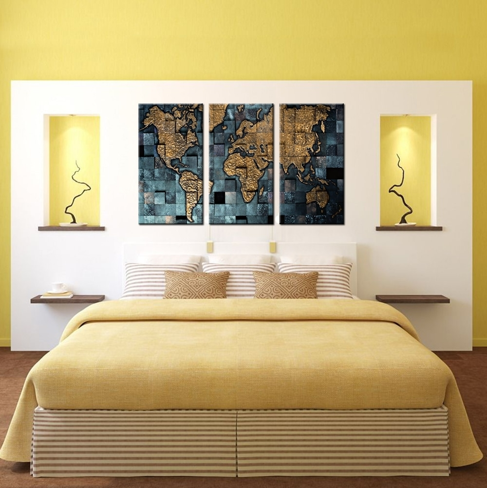 3 Panel Wall Art World Map Poster Office Decor Contemporary Wall Regarding Newest Contemporary Wall Art Decors (View 15 of 20)