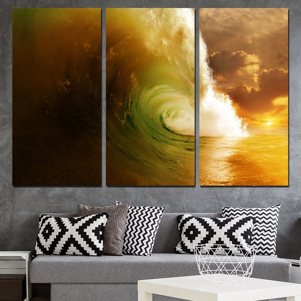 3 Panels Canvas Art Giant Wave Seascape Water Home Decor Wall Art Inside 2017 Giant Wall Art (Gallery 7 of 20)