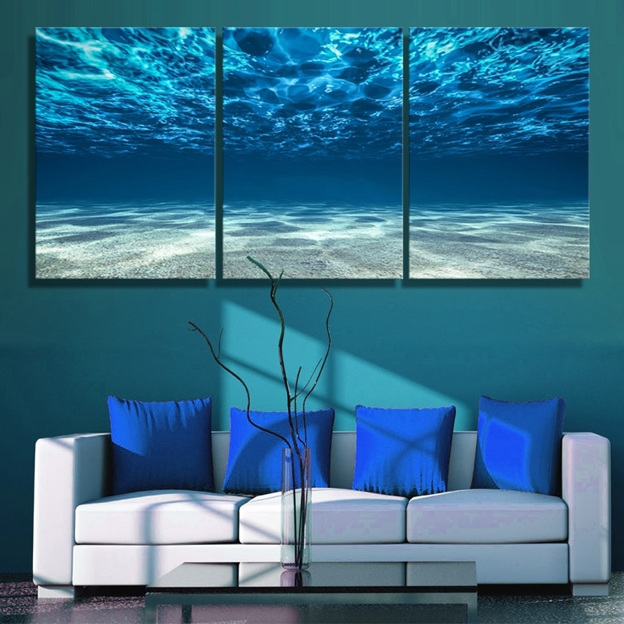 3 Panels Canvas Paiting Print Blue Ocean Wall Art Picture Seaview Inside Current Ocean Wall Art (View 1 of 20)