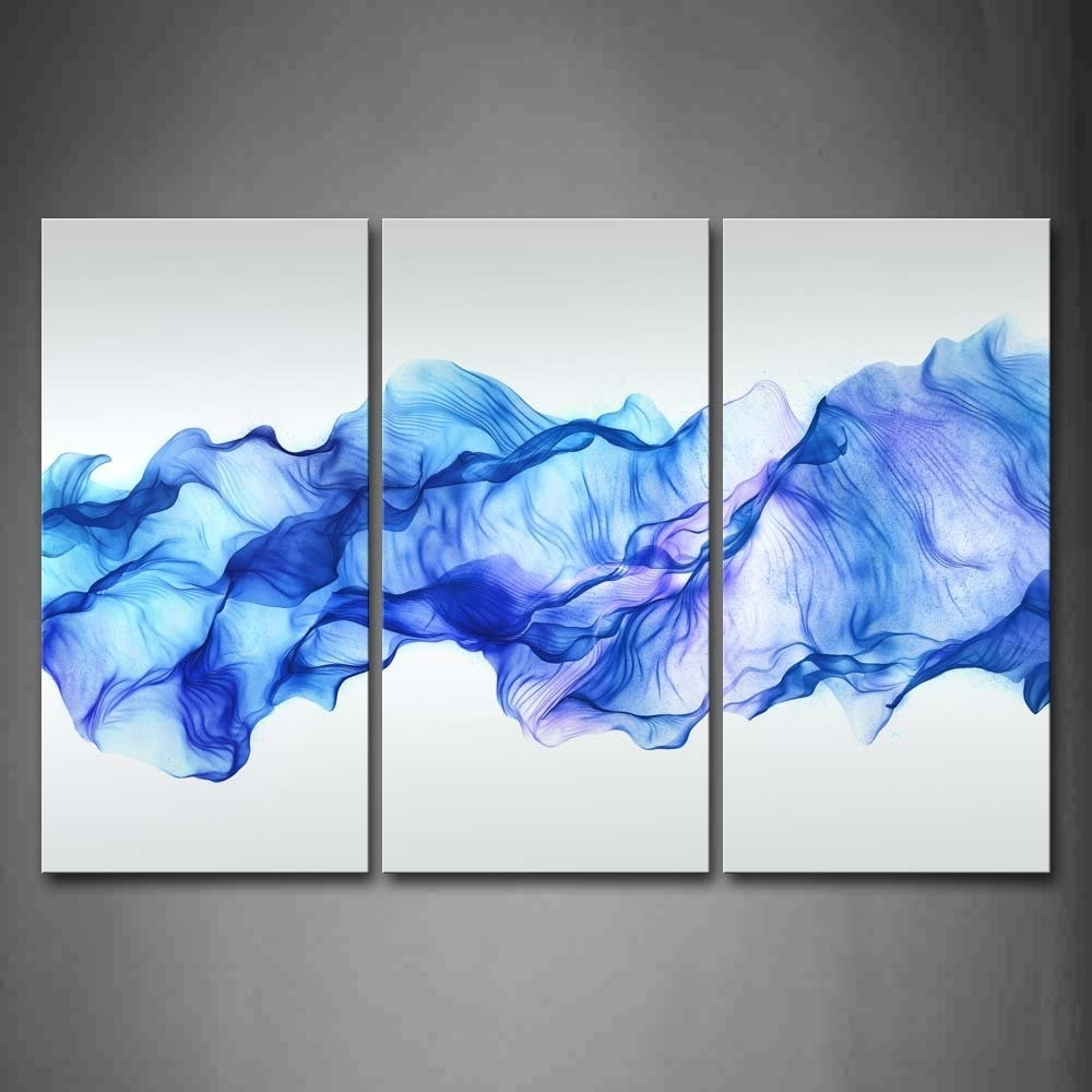 3 Panels Wall Painting Blue Smoked Abstract Canvas Modern Home Room Pertaining To Most Recently Released Wall Art Paintings (Gallery 7 of 20)