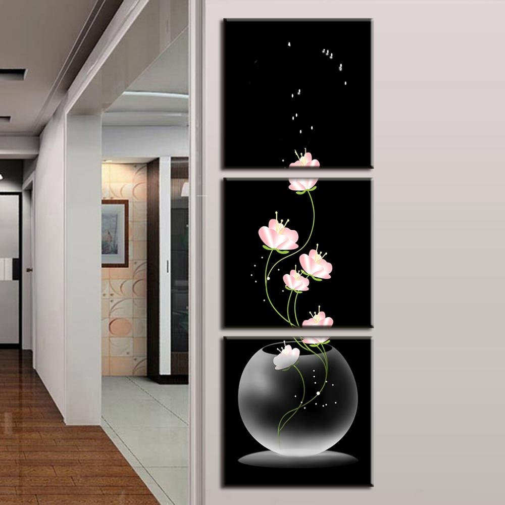 3 Pcs/set Abstract Art Modern Wall Paintings Flowers Porch Vertical For 2018 Vertical Wall Art (View 2 of 20)