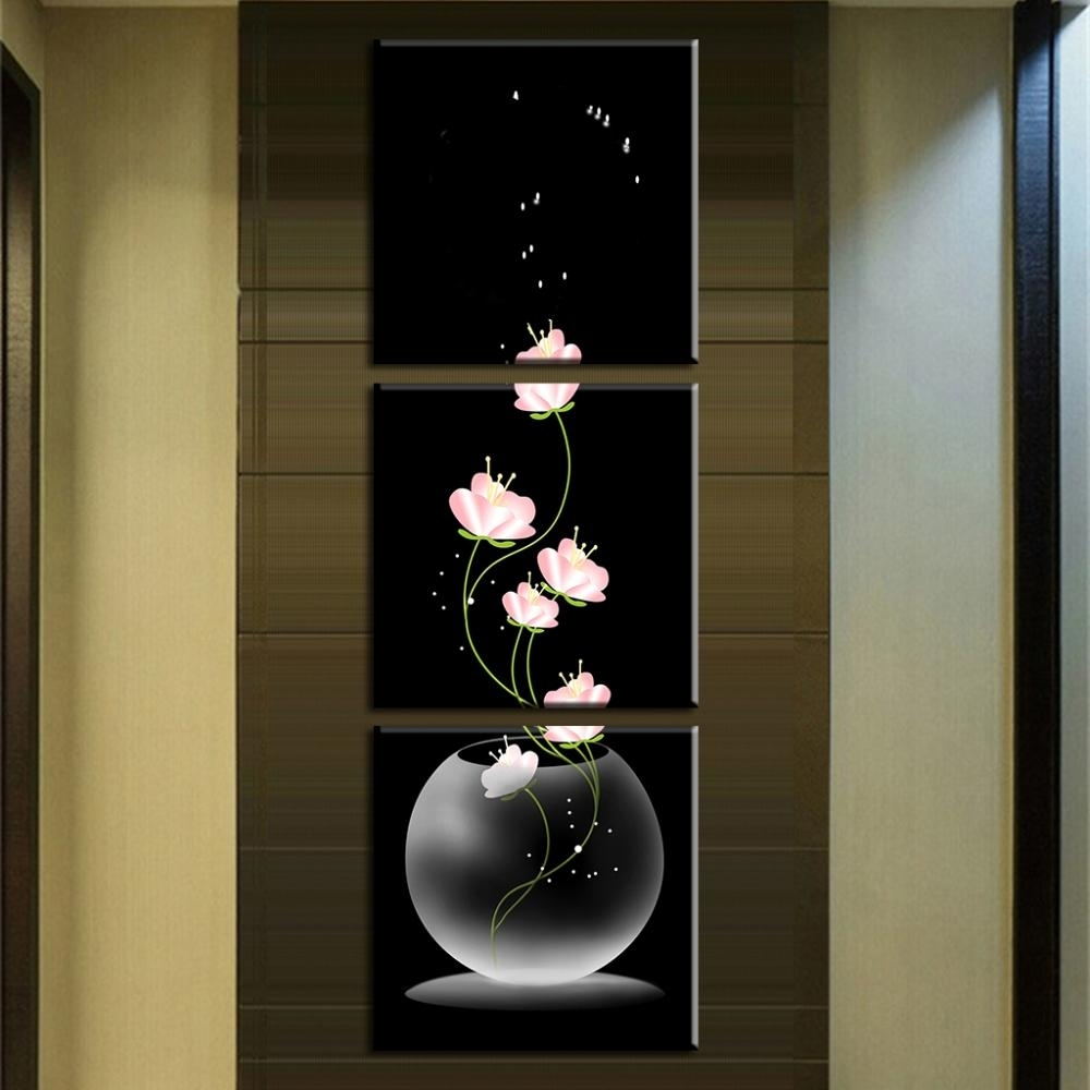 3 Pcs/set Abstract Art Modern Wall Paintings Flowers Porch Vertical In Best And Newest Vertical Wall Art (Gallery 16 of 20)