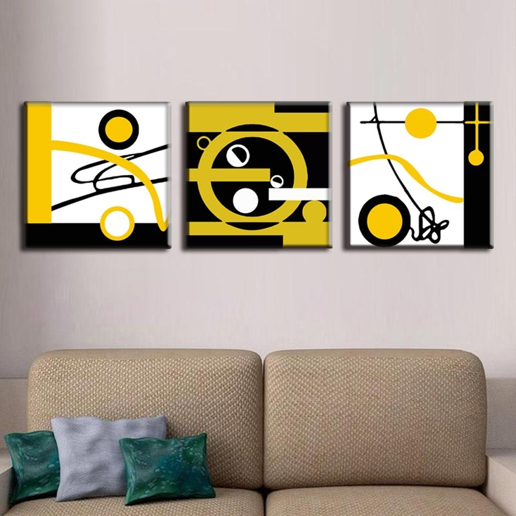 3 Pcs/set Abstract Canvas Wall Art Blocks Of Color And Circle Canvas Intended For Most Popular Circle Wall Art (View 1 of 20)