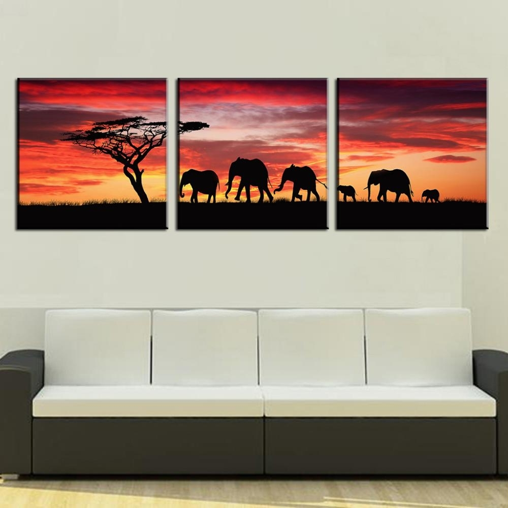 3 Pcs/set Landscape Painting Wall Art Pictures African Elephants Within Most Current African Wall Art (View 1 of 15)