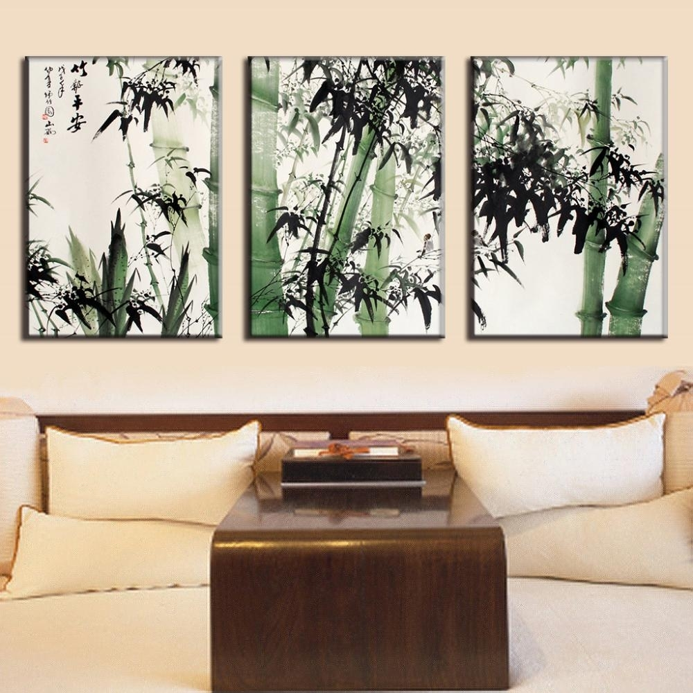 3 Pcs/set Traditional Chinese Ink Bamboo Painting Calligraphy Canvas For Newest Traditional Wall Art (Gallery 12 of 15)